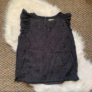 LOFT Dark Gray Lace Flutter Sleeveless Blouse M